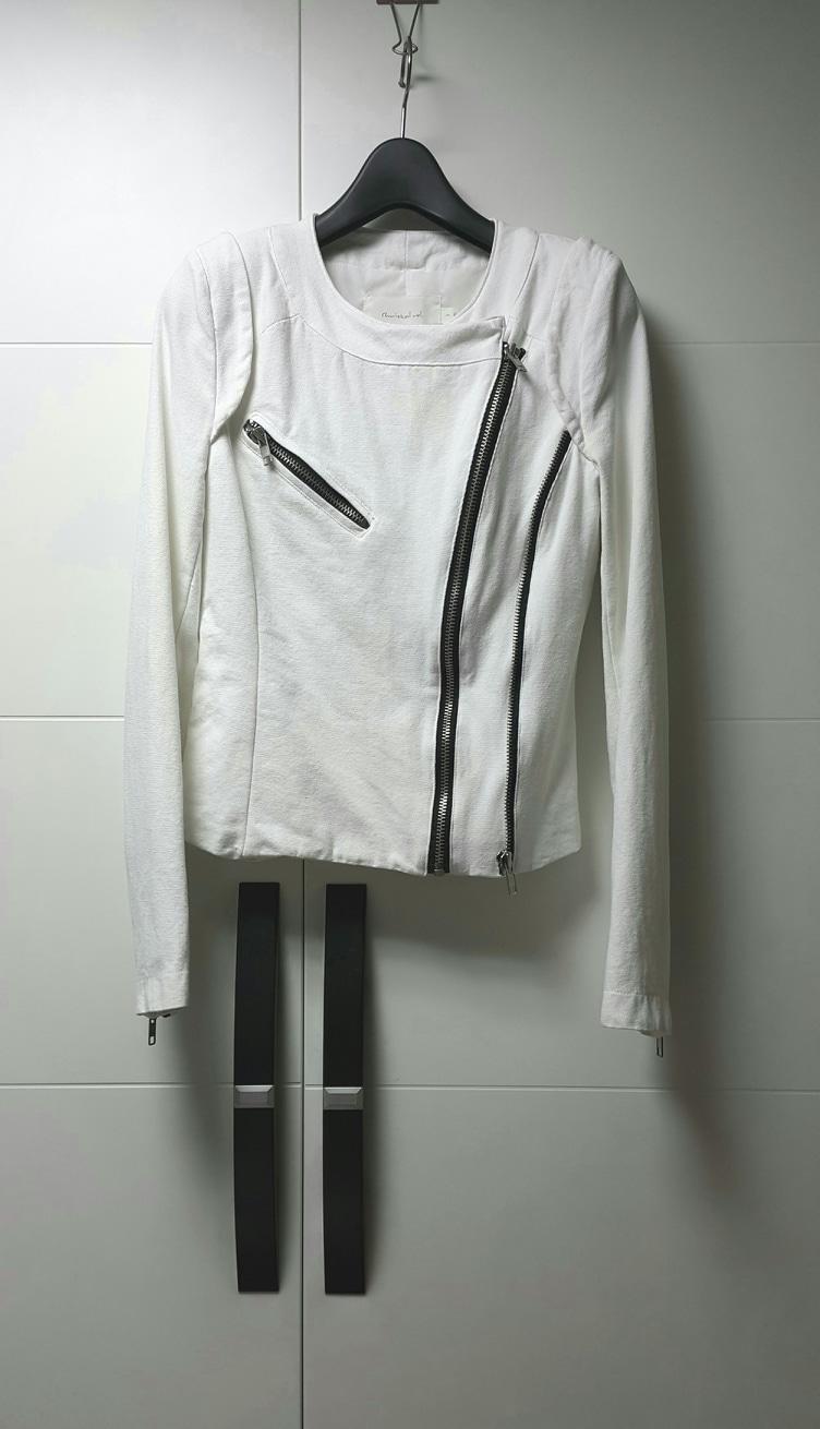 [44~55]상태꿀/투집업 라이더 쟈켓/화이트 데님 점퍼/숏점퍼/숏쟈켓/춘추용/XS~S/메이드인 코리아
