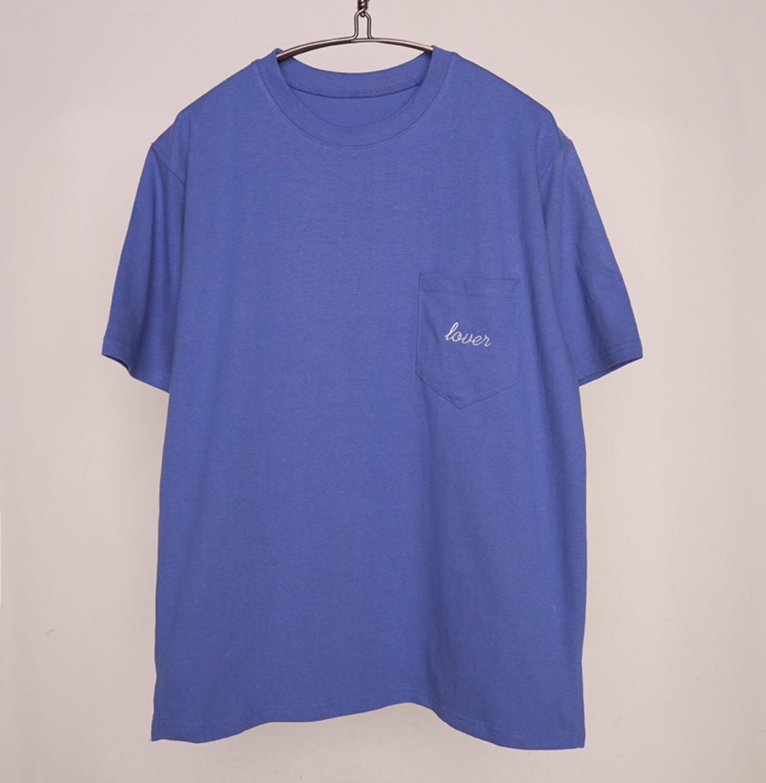포켓자수반팔 티셔츠