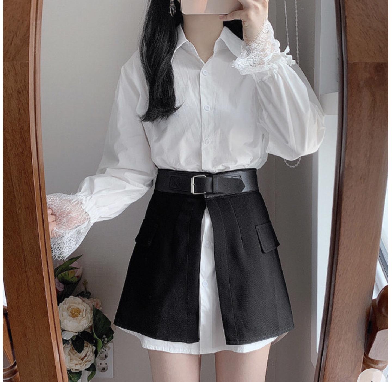 레이스 셔츠 스커트 세트 (새상품)