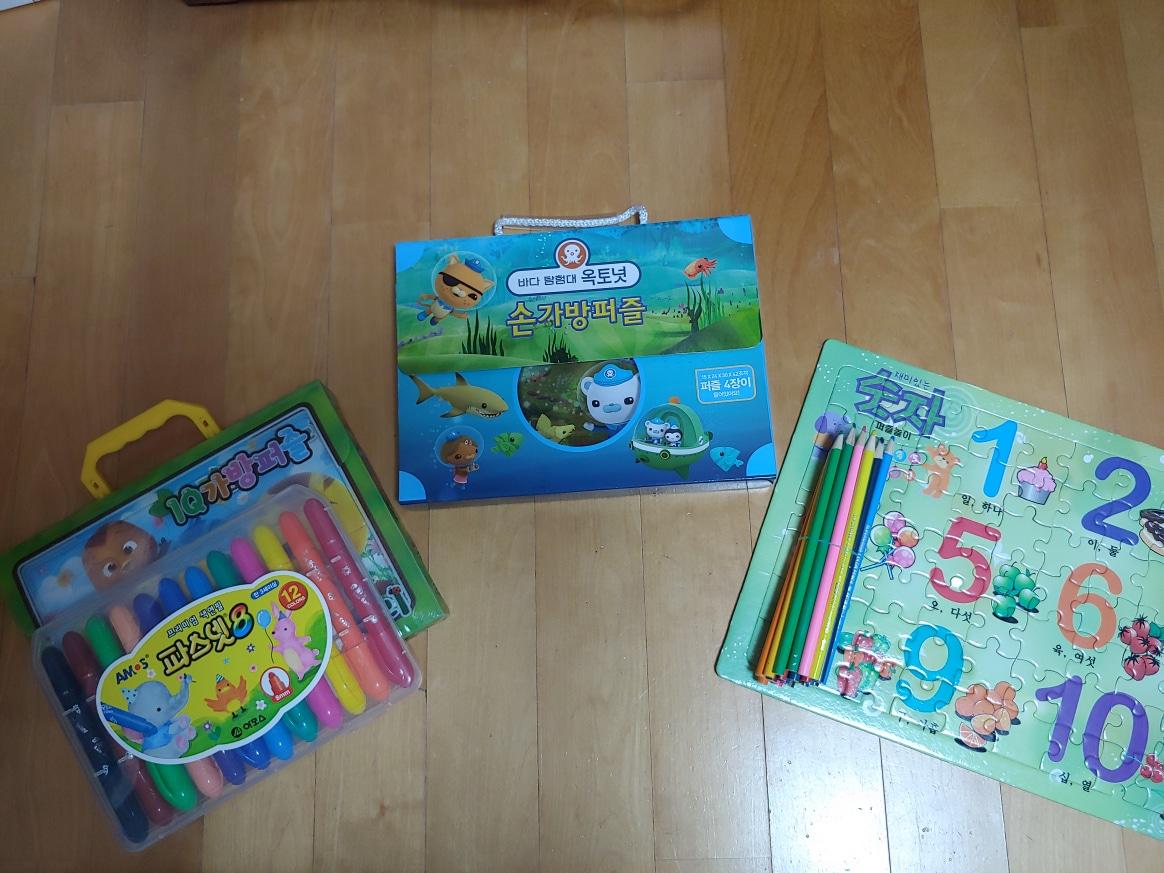 엄마까투리 가방퍼즐+파스넷/옥토넛 가방퍼즐/색연필+숫자퍼즐