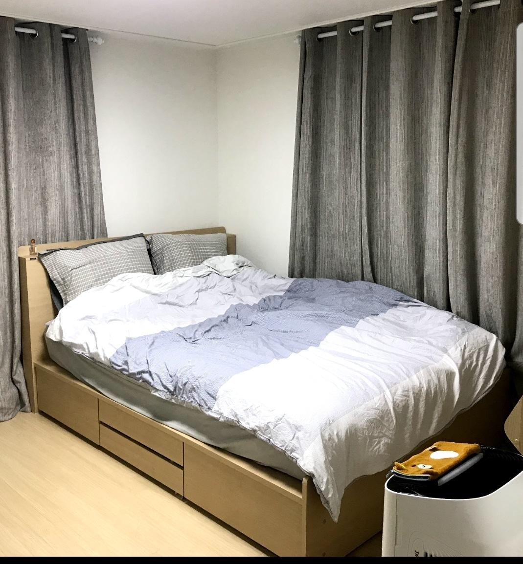 에몬스 수납형 led 퀸 침대