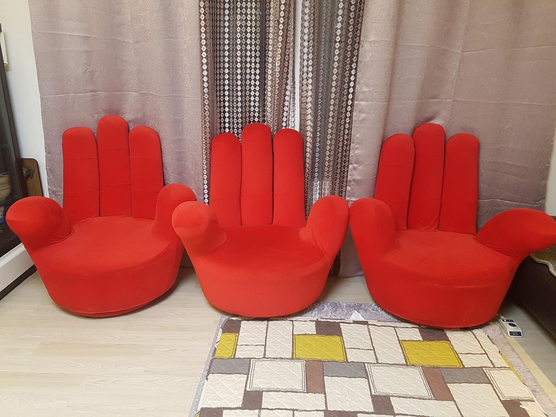 손가락 쇼파.의자 1인용 레드(3개)