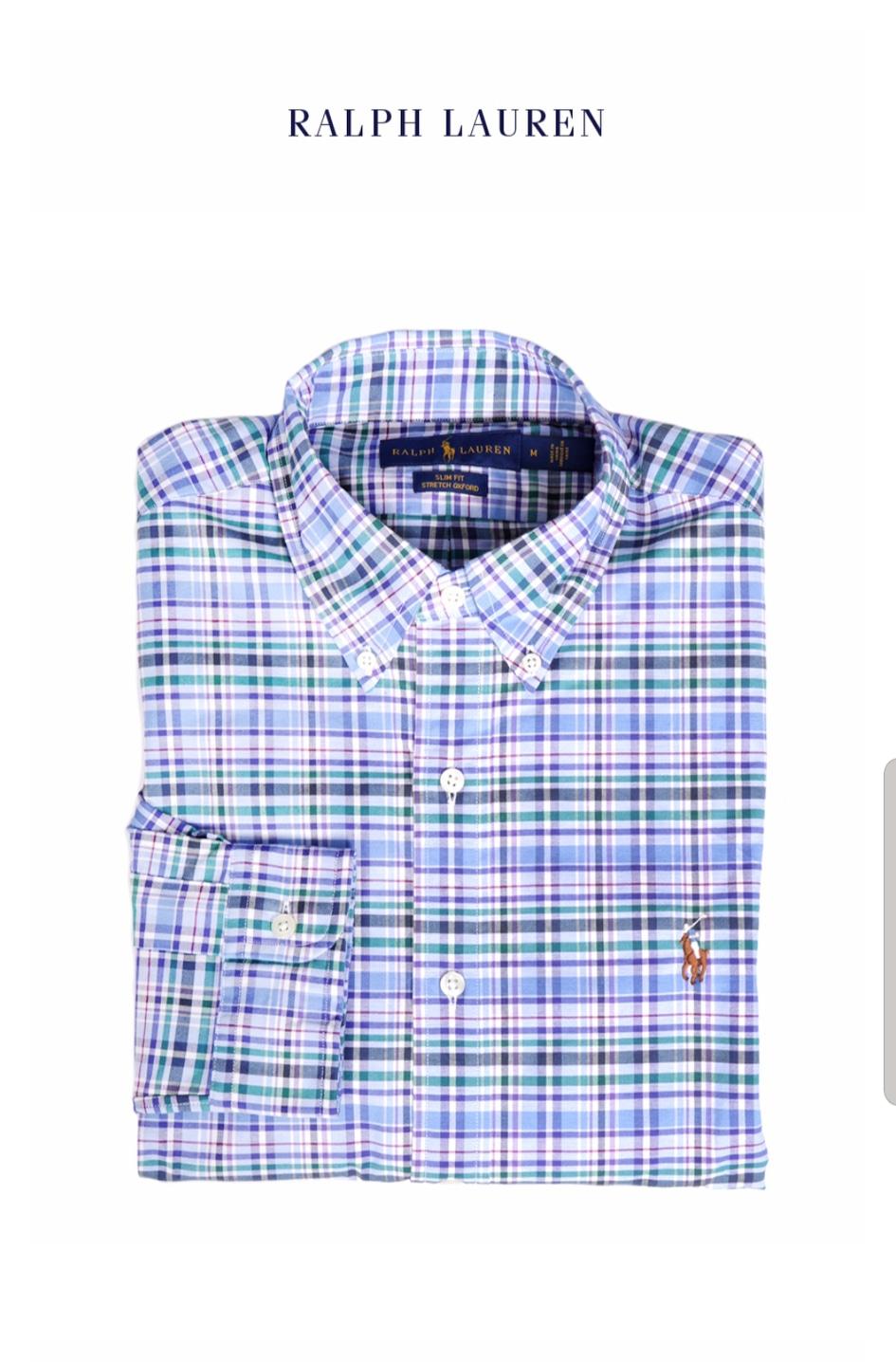 [새상품]폴로랄프로렌 옥스퍼드 슬림핏 블루체크 셔츠 M