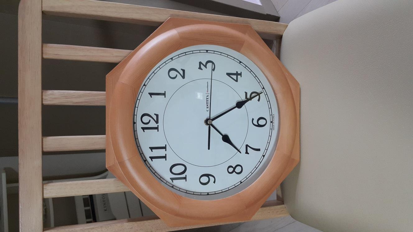 인테리어 원목 팔각벽시계 32X32, 원목벽시계, 인테리어벽시계