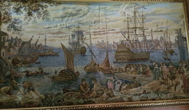 (170*95) 배네치아 항구 앤틱그림 유렵그림 이태리그림엔틱그림 액자