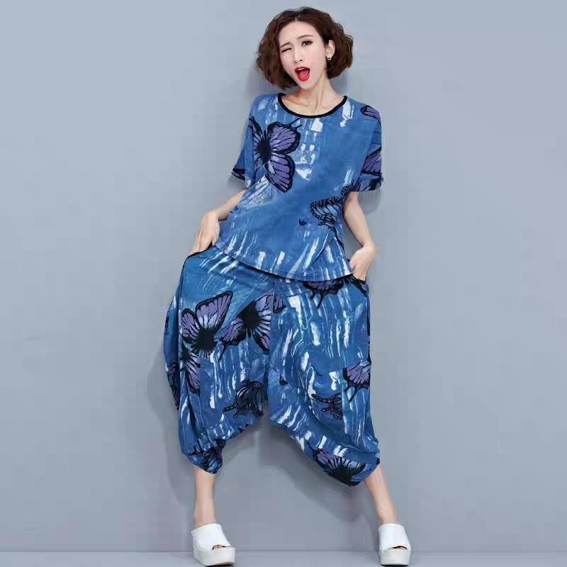 상하 세트 면 배기 팬츠 반팔 티 똥싼 바지 여성 용 생활복 여자 나비 여름 옷 프리사이즈