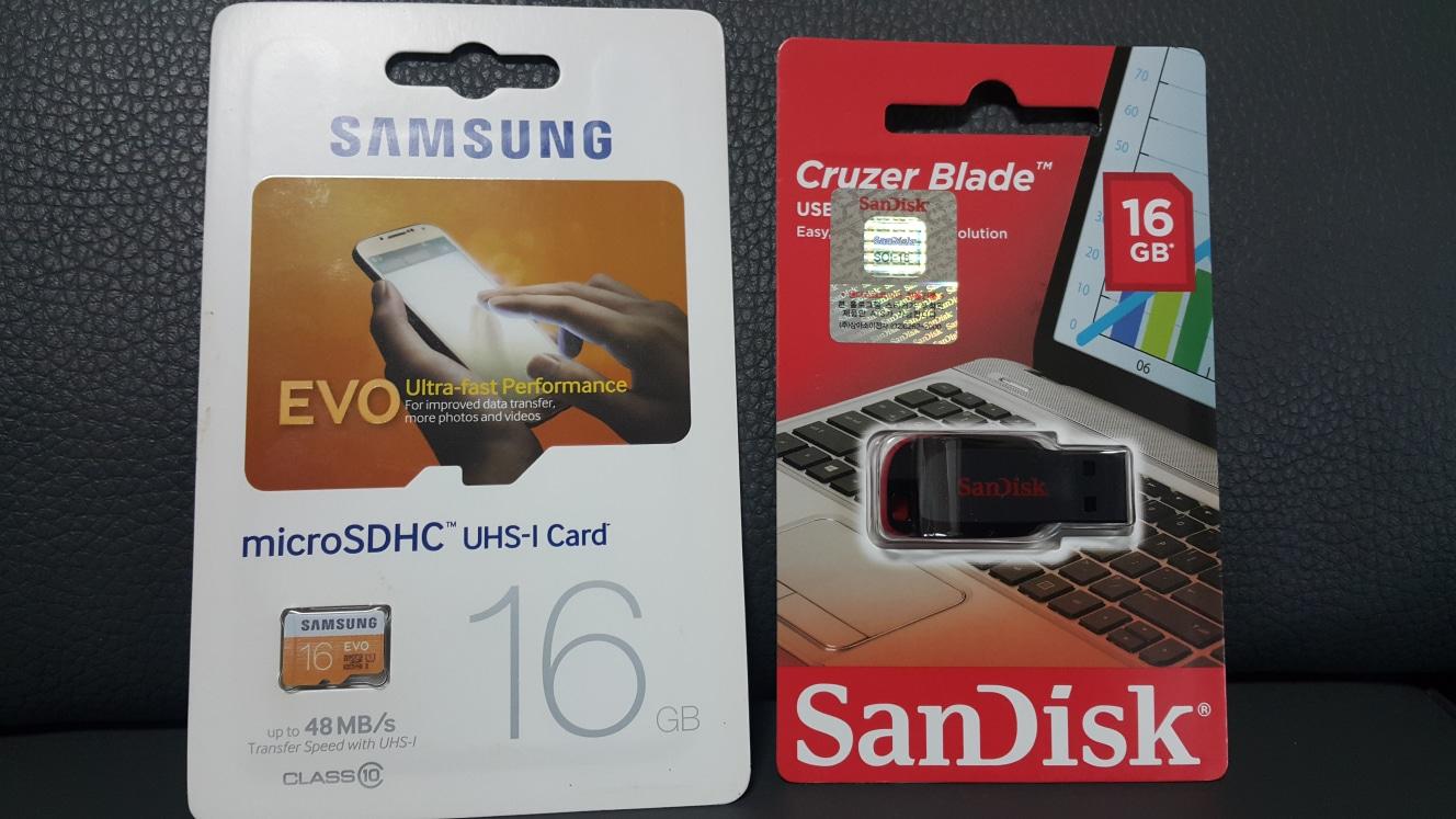 가격인하! 삼성 sd 카드 16기가 & 샌디스크 usb 16기가!
