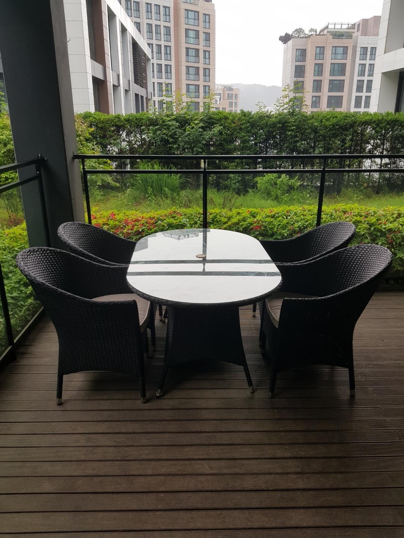 라탄 야외 의자 테이블 셋트