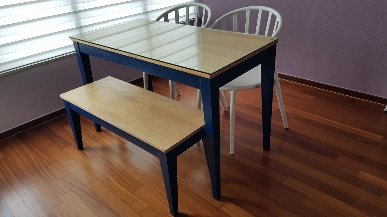 식탁+벤치+의자2+강화유리