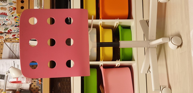 이케아 의자 율레스 어린이 책상의자 회전의자(핑크)