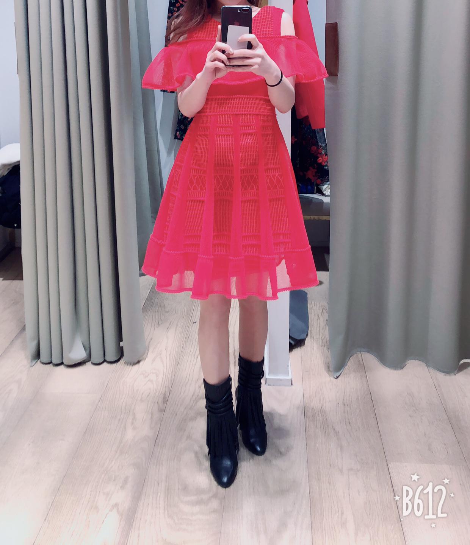 maje 마쥬 레드 드레스
