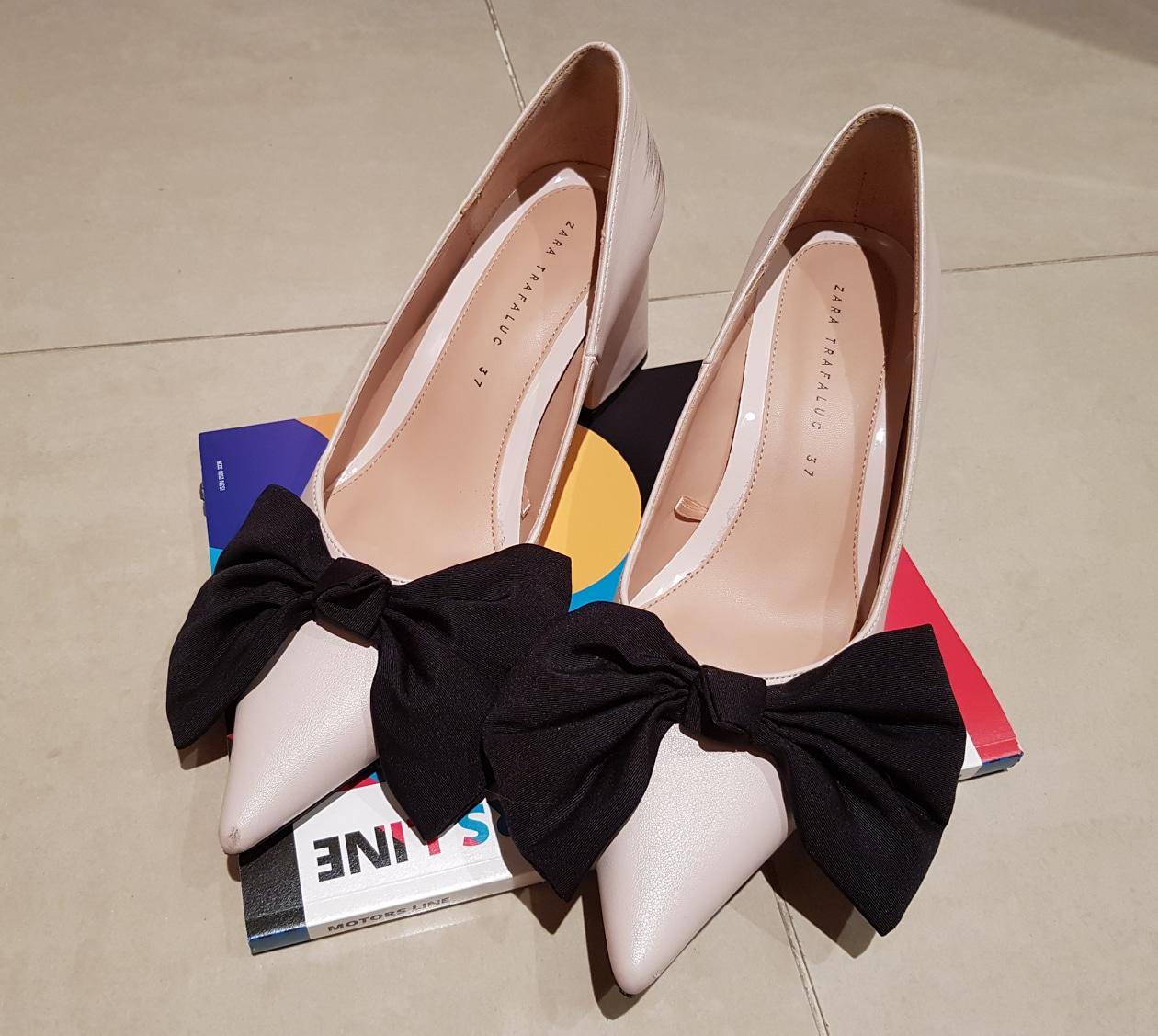 자라 리본 구두 신발 240 사이즈 연한 핑크