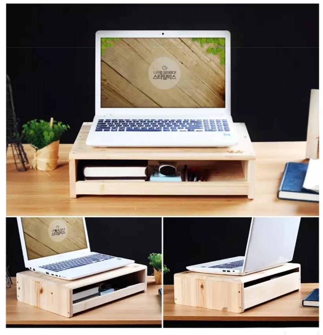 (새상품) 삼나무로만든 노트북 /모니터 받침대