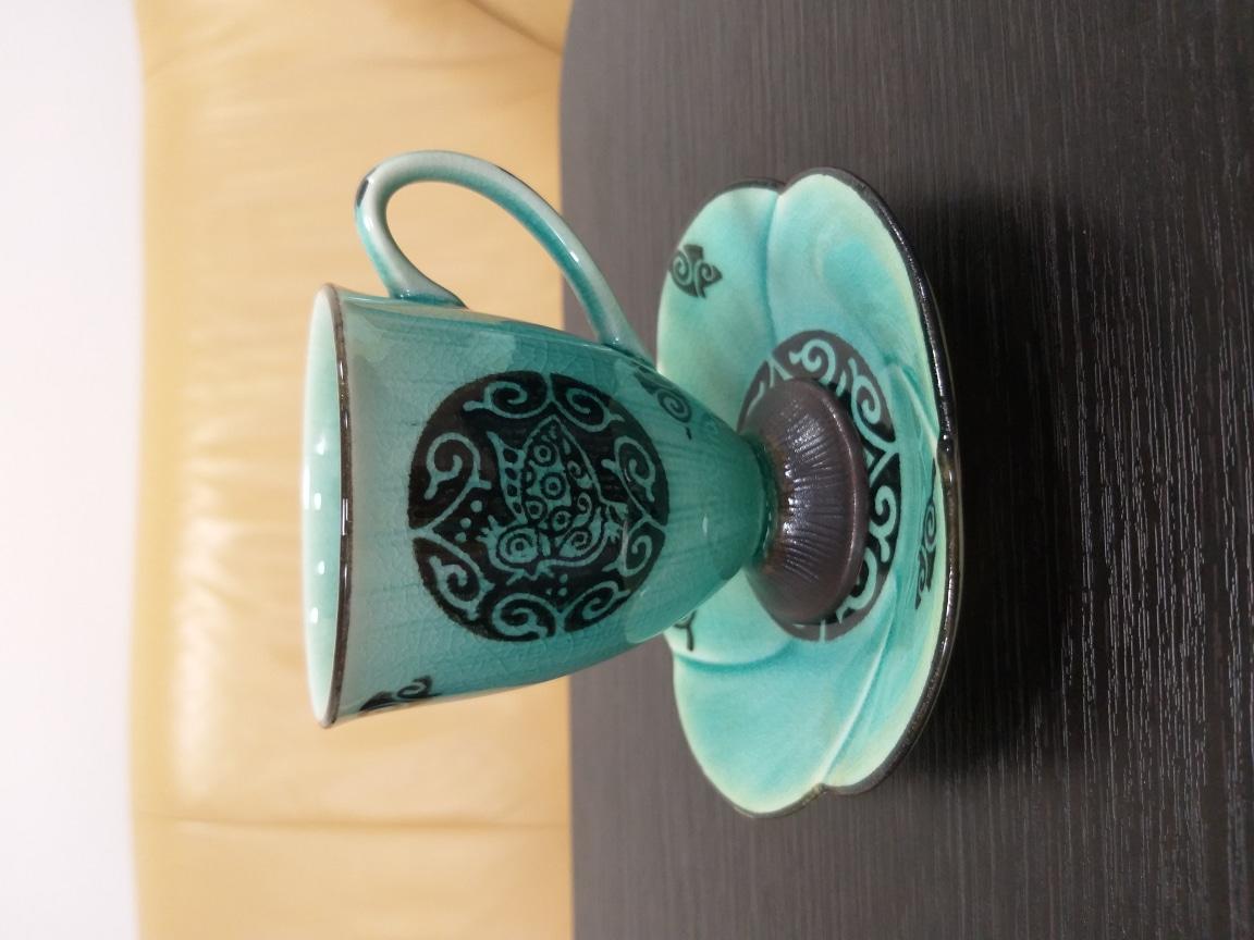 일본도기 커피잔(미사용)