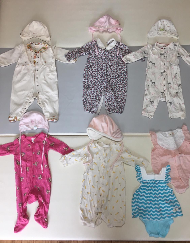 아기모자 5개 & 아기우주복 5 벌, 여름우주복