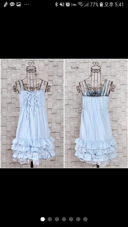 [44-55하자세일]denim laceup dress