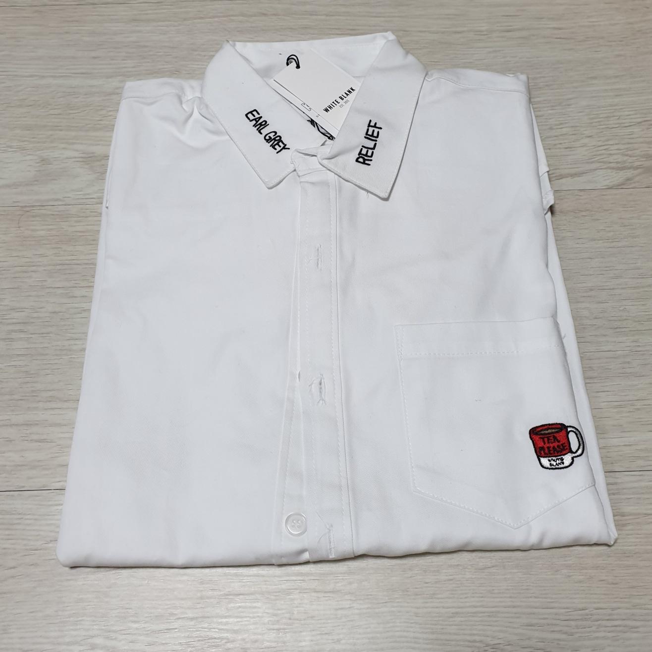 화이트블랭크 자수 셔츠 남방 s 새상품 -무료택배