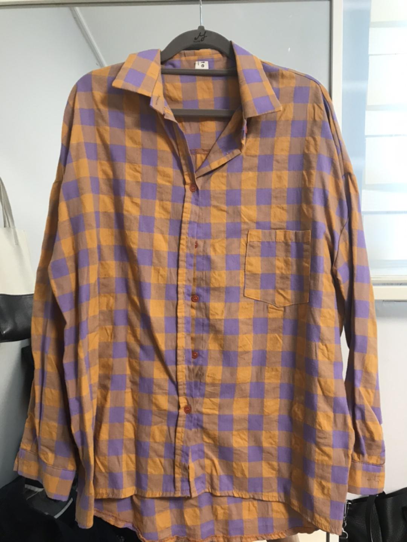 보랑주황체크셔츠
