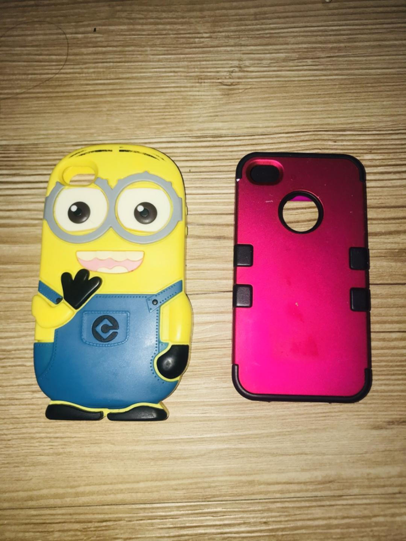 아이폰 4 미니언 케이스, 자주색 케이스 팝니다:)