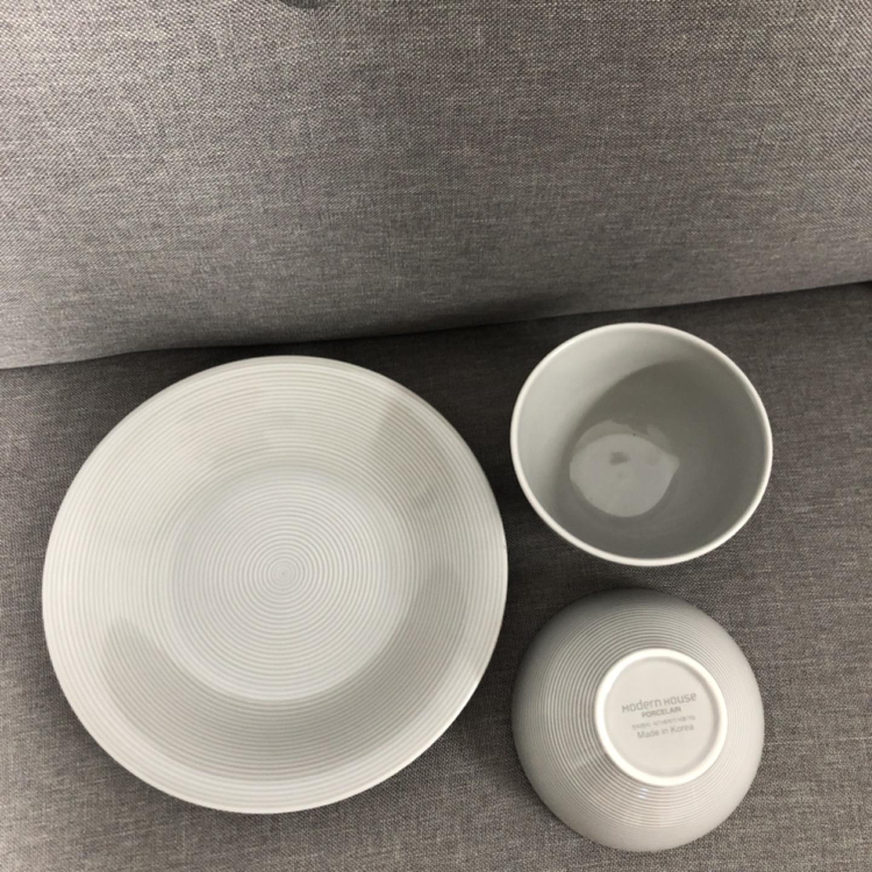 모던하우스 접시1, 공기2 (그레이 스트라이프) 일괄