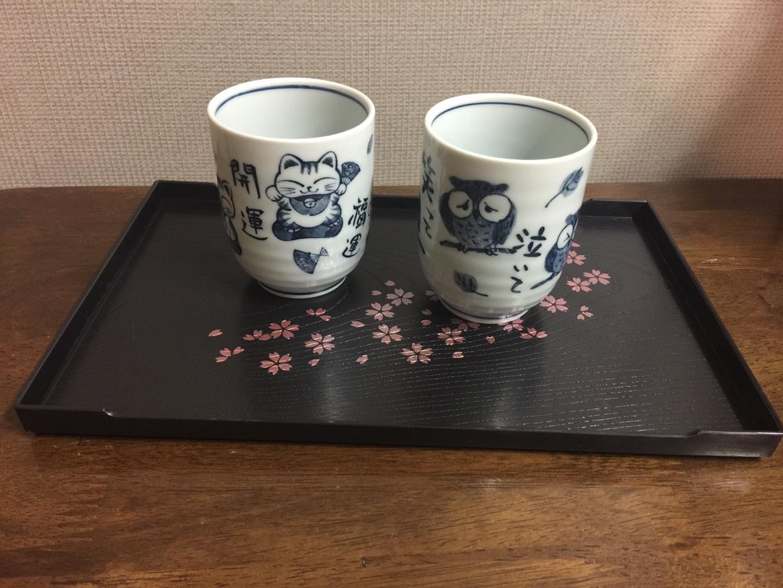 일본 쟁반 3개 + 찻잔 2개
