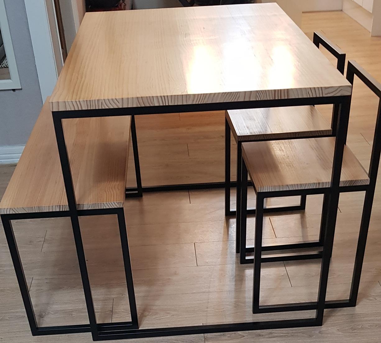 원목 철제테이블 4인 세트/식탁