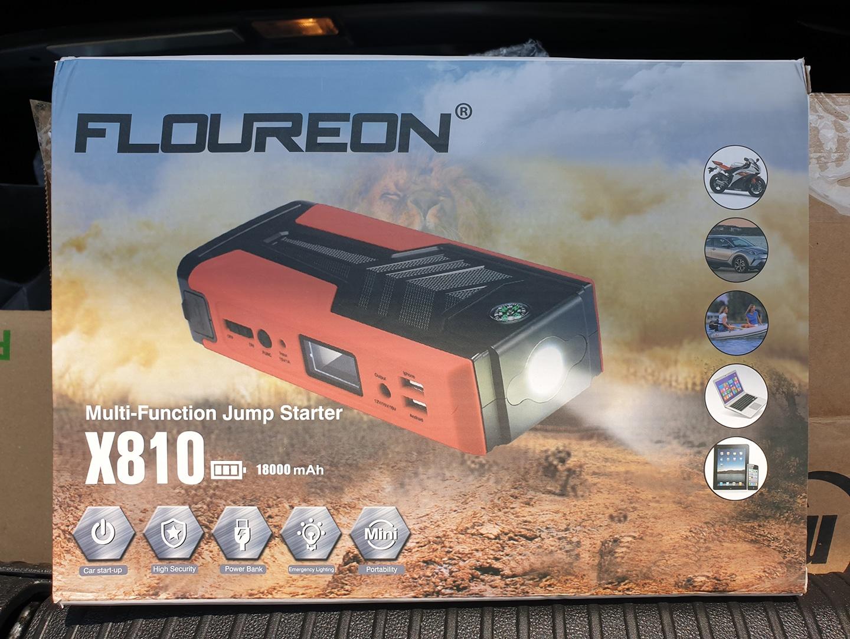 QDSP 지원 FLOUREON X810 자동차 포터블 점프스타터 멀티 보조배터리