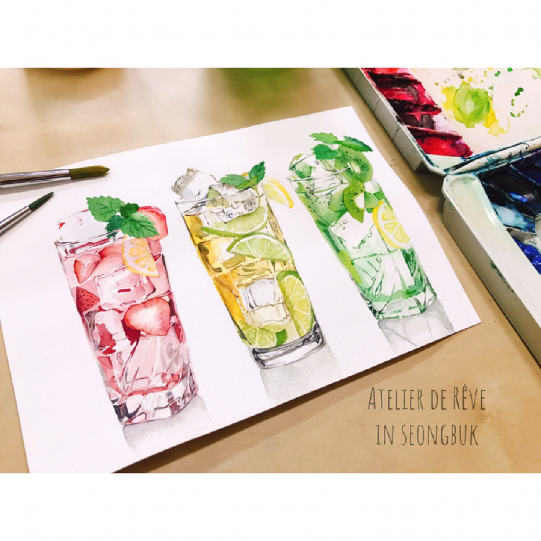 [수채화 6주 단기완성] 맛있는 수채화; 테이블 위에 내 그림