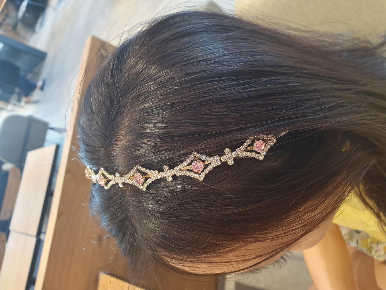 크리스탈 블링 핑크 머리띠