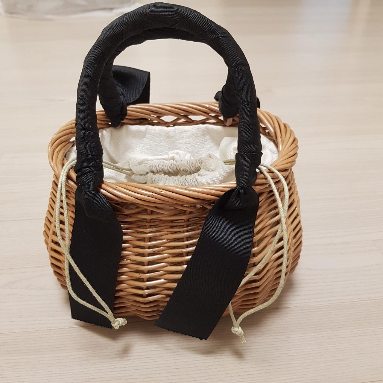 라탄 왕골 미니 리본 라운드백 라탄백 피크닉가방