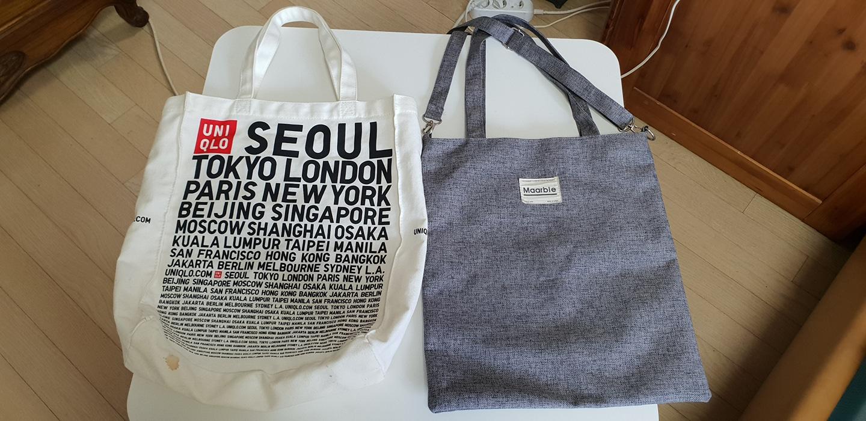 유니클로 에코백과 보조가방