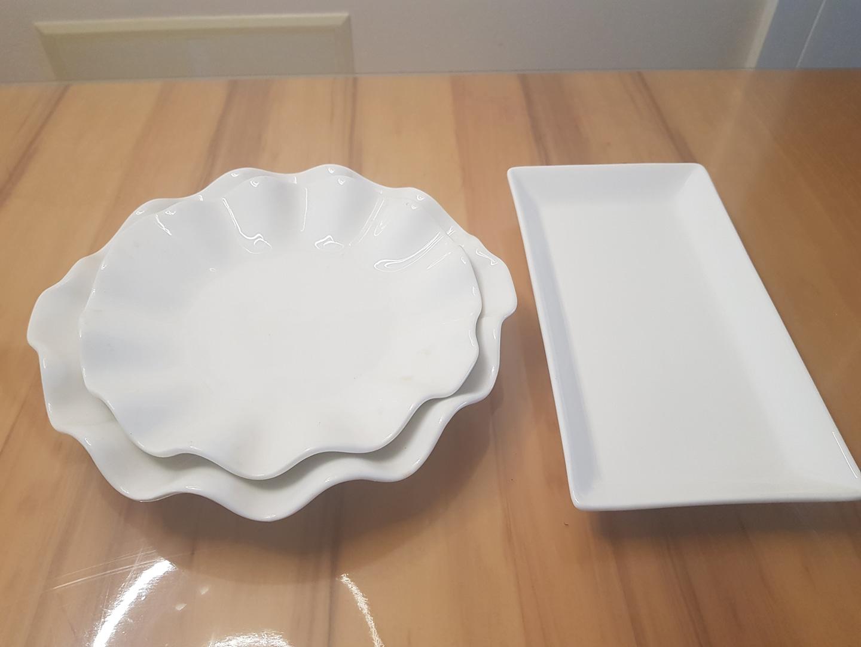 깔끔한 화이트 접시 / 생선 접시 / 샐러드 접시 / 과일 접시/ 물결 접시 / 사각 접시  총3개 set