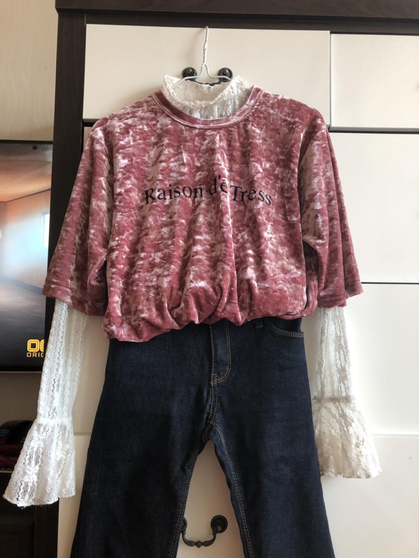 분홍 찰랑찰랑 반팔티셔츠