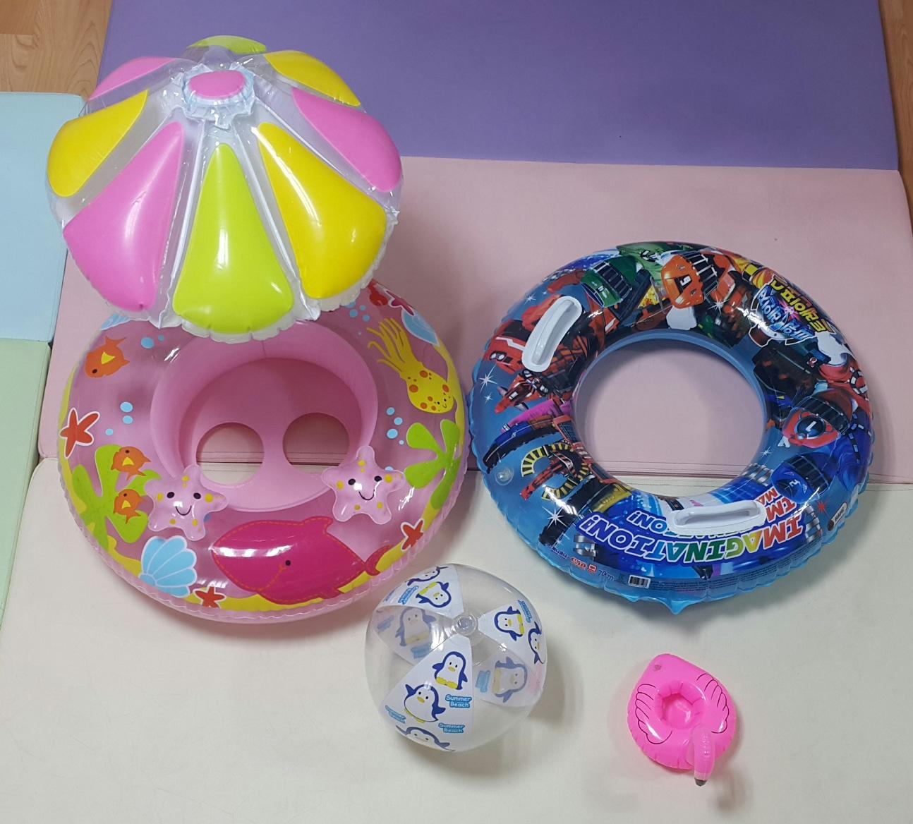 일괄4종 꽃모양 보행기튜브  유아 튜브 아동 튜브 비치볼 음료튜브 공 수영장 워터파크