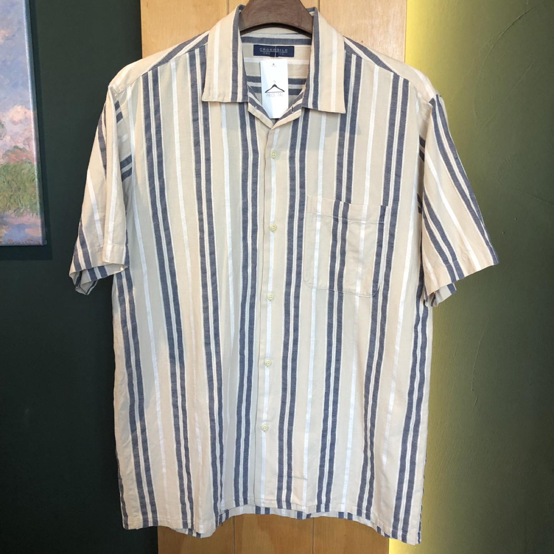 [일본구제] 자수 스트라이프 린넨 셔츠 L