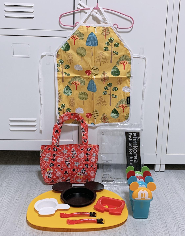 디즈니 미키마우스 식판 + 미키마우스 아이스 메이커 + 미니마우스 방수 피크닉 가방 + 엘림코리아 북유럽 앞치마