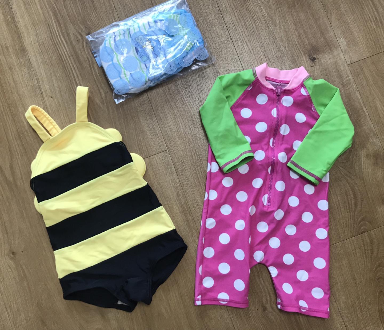 아기 래시가드/꿀벌 수영복/방수기저귀2개