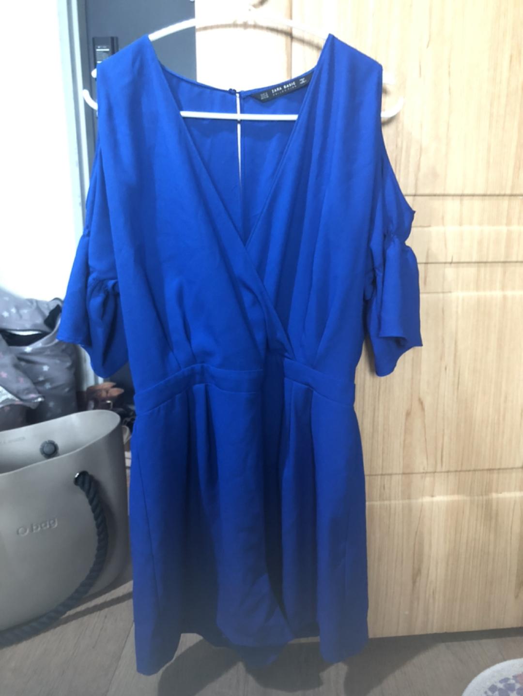 자라 어깨 드러나는 점프슈트 파란색(M)