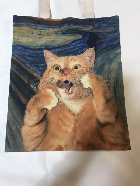 절규하는 고양이 ,고등어 태비 고양이가방 에코백 숄더백 캔버스백 새상품