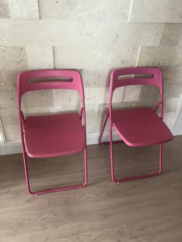 이케아 정품 접이식 핑크의자