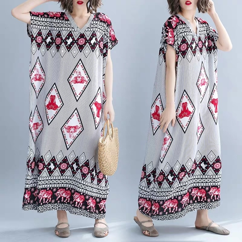 비치 롱 스커트 여름 면 원피스 반팔 긴 치마 프리사이즈 전통 옷 만다라 민속 풍 레드 빨강