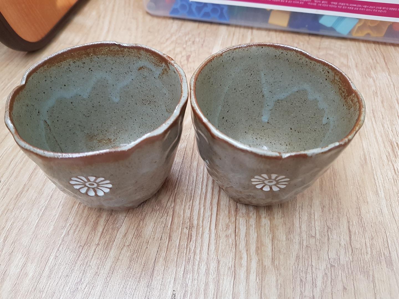 도자기 컵 2개
