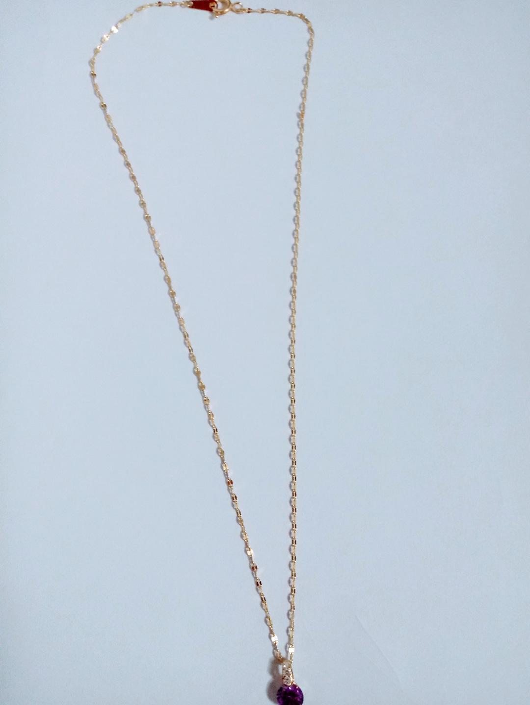 14k목걸이 잠자리체인38센치 길이 6mm보라색큐빅 발물림까지 14k