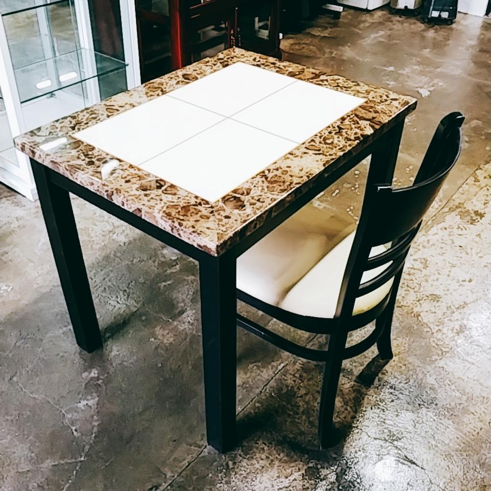 2인 천연 대리석 식탁 + 의자세트