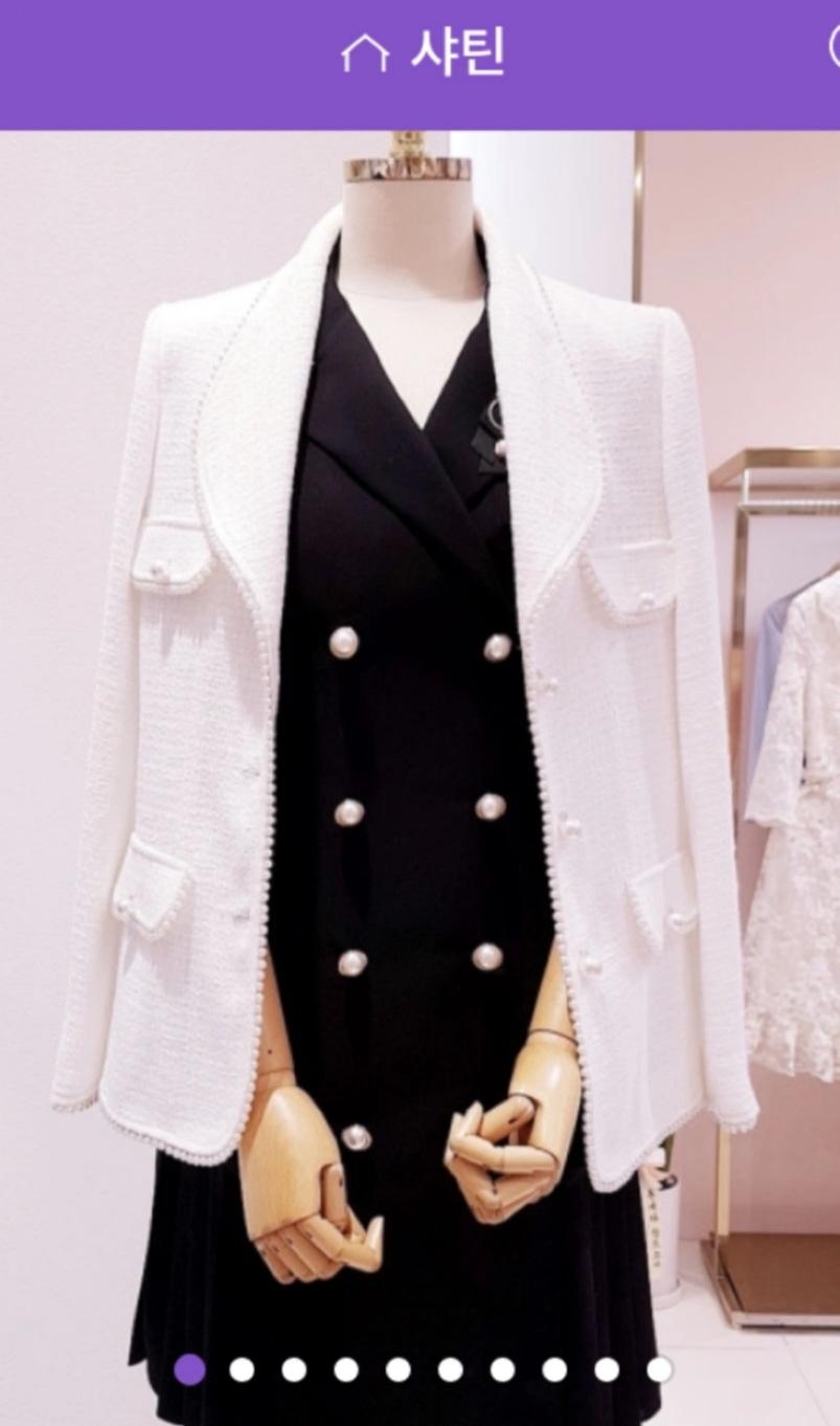 샤틴 satin 흰색 트위드 자켓