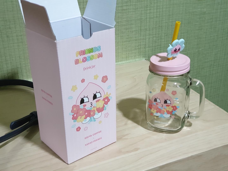 이디야 카카오 어피치 유리병 유리자 jar 판매합니다. (미사용 새제품)