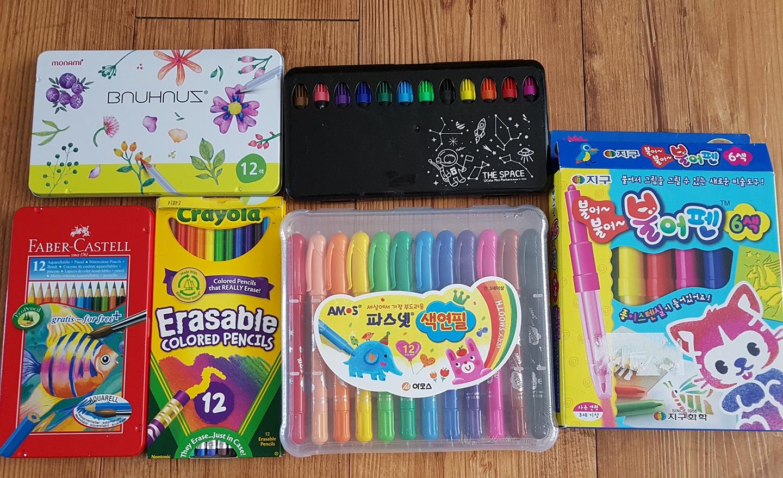 초등 미술도구 색연필 싸인펜등 일괄 10000