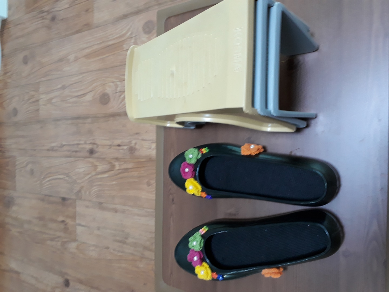 검정고무 꽃신발 ( 신발 정리대3 개) 새신발