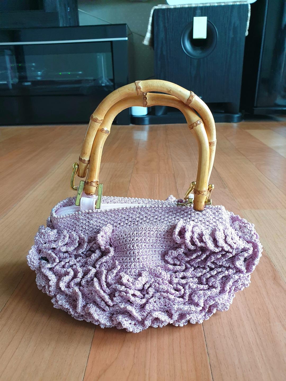 펄핑크 주름 니트 가방(미사용)