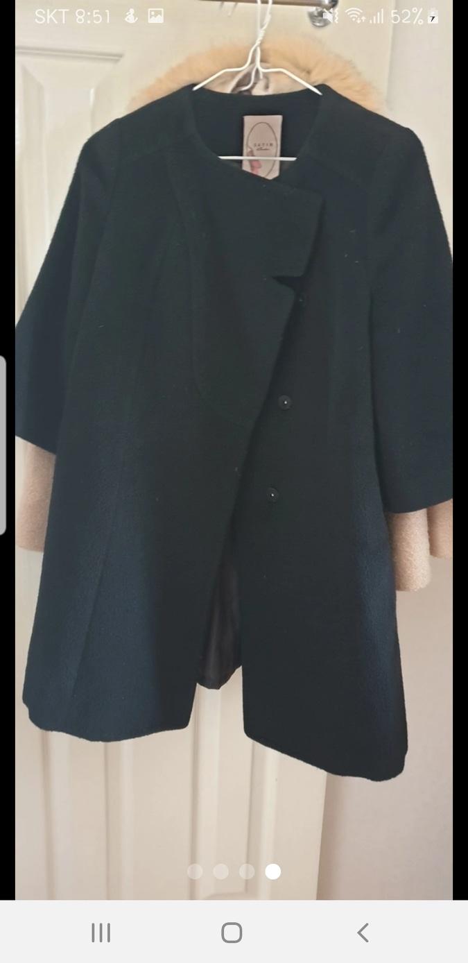 역시즌 특가 사틴 브랜드코트 역시즌 초득템가 티셔츠가격)♡사틴 블랙 코트 득템가 3만원!!